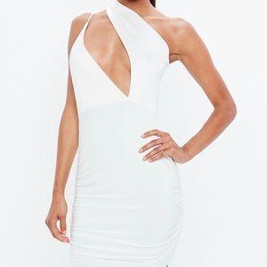 Cream Scuba Slinky One Shoulder Cut Out Dress